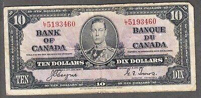 1937 Bank of Canada - $10.00 Bank Note - VG - Coyne Towers L/T 5193460