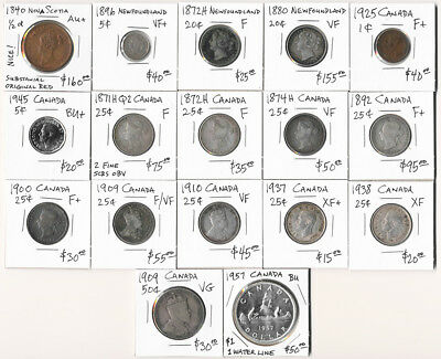 17 OLD CANADA COINS 1840-1957 HALF CENT to DOLLAR  (CV $940 USD) > NO RESERVE