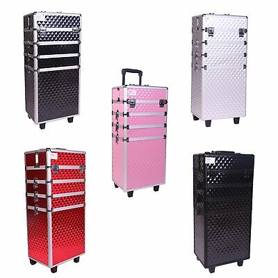 FoxHunter Makeup Beauty Cosmetic Hairdressing Case Box Trolley Alu 4 In 1 MTC02