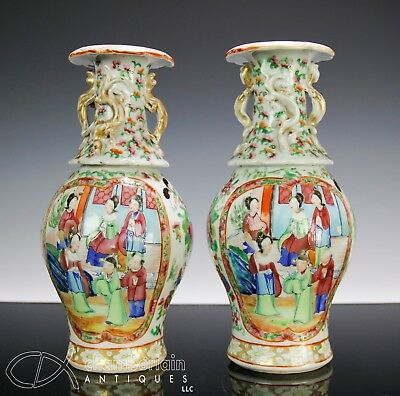 Pair Of Antique Chinese Porcelain Rose Mandarin Vases 19c