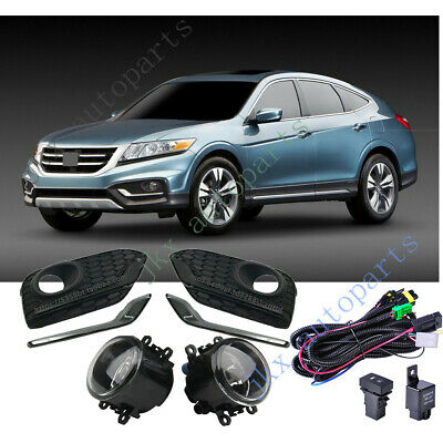 Chrome Bumper Cover Fog Lights Lamps /& Wiring Kit k For Honda Crosstour 2013-17