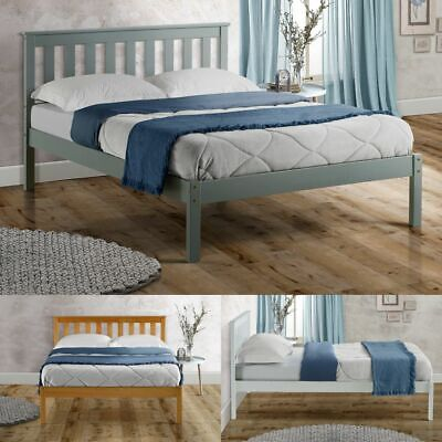 Denver Wood Shaker Style Bed with 4 Mattress 3 Colour and 4 Size Options