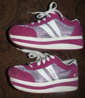 Skechers Somethin' Else Pink & White Platform Trainers Sneakers Shoes US SIZE 10