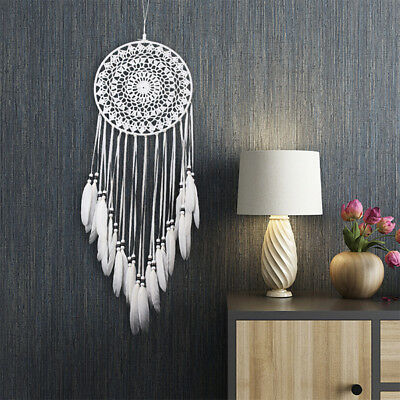 Home Dream Catcher with Feathers Car Wall Hanging Room Decor Ornament White US