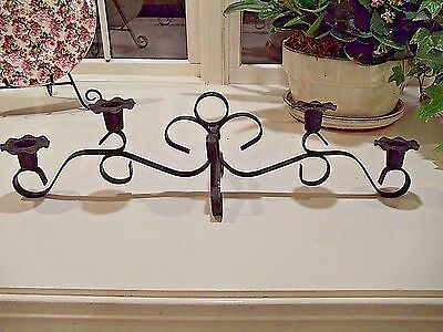 Vintage Wrought Iron Fireplace/Mantle Candelabra-Candle Holder- Early American?