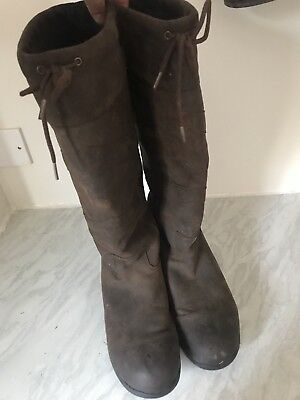 ADULTS Saxon LONG HORSE RIDING WALKING STABLE LEATHER COUNTRY BOOTS SIZE UK 9