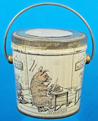 """Antique Hard Candy Pail Container """"Three Little Pigs"""" Very Cute!"""