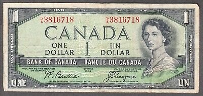1954 Bank of Canada - $1 Devil Face Note - VG - Beattie Coyne - S/A 3816718