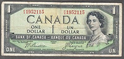 1954 Bank of Canada - $1 Devil Face Note - Fine - Beattie Coyne - P/A 1952115