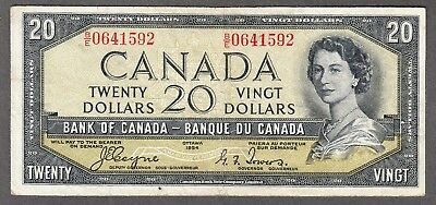 1954 Bank of Canada - $20 Devil Face Note - Fine - Coyne Towers - B/E 0641592