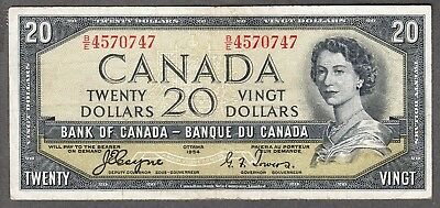 1954 Bank of Canada - $20 Devil Face Note - VF - Coyne Towers - B/E 4570747