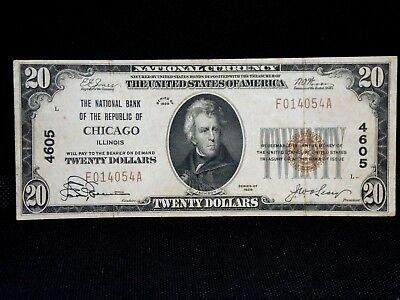 $20.00 Circulated 1929 NATIONAL BANK NOTE Chicago , IL. T1 Charter #4605
