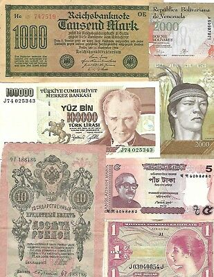 Lot of 71 World Banknotes, 1793-2000  Circ/UNC  Nice! Look!