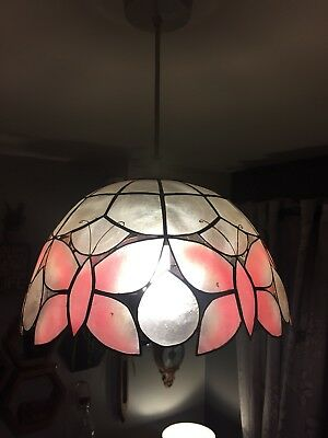 X2 Tiffany Capiz Shell Style Light Shades Vintage Pink Butterflies shabby chic