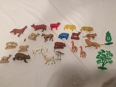 Vintage Auburn Rubber Toy Farm and Wild Animals and Misc Lot  A101