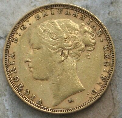 "1883-M Australia Gold Sovereign  ""victoria Young Head"""