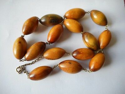 Vintage large olive shaped beads carved wood chained necklace, GF clasp,29""