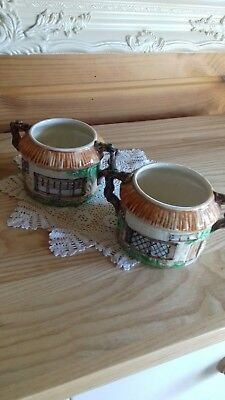 Two Vintage Beswick Ware Pottery Round Cottage Twin Handled Sugar Bowls No.245