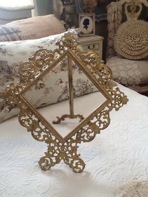 Antique French  Victorian Art Nouveau Brass Gilt Gold Easel Mirror Photo Frame