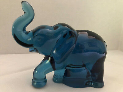 Vintage Fenton Art Glass Indigo Blue Elephant Figurine