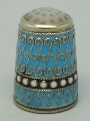 David Andersen Norwegian Blue Enamel and Sterling Thimble in Case Decorated Box