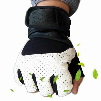 Weight Lifting Gloves Padded Leather Fitness Trainning Body Building Gym Starps