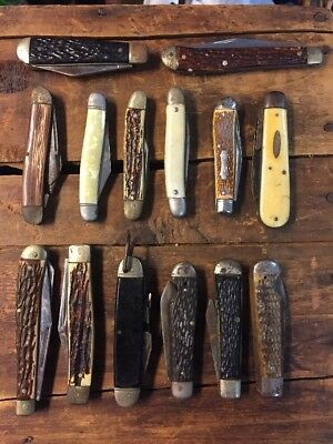 Lot Of 13 Vintage Folding Knives Imperial Colonial AMCO Knife