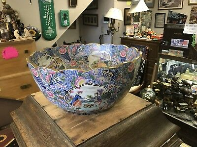 Early Asian Porcelain Punch Bowl