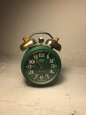 Vintage Green Twin Bell Wind Up Alarm Clock Made In Hungary Good Working 9cm
