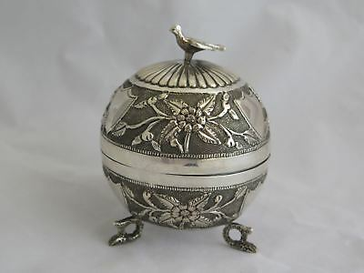Incredible Antique Oriental Repousse Sterling Round Box