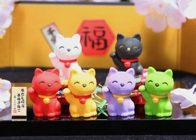 Iwako Lucky Good Fortune Cat Japanese Erasers 6 pcs S-3558
