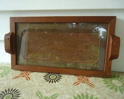 Vintage Wood Serving Tray with Glass Top Handmade Arts Crafts Mission Style Oak