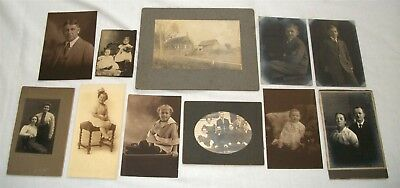 Antique Photograph Lot People Portraits Farm House Vintage Photo