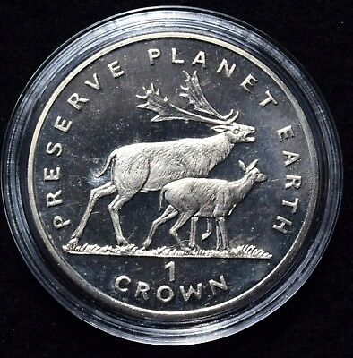 1994 Isle Of Man Crown, Preserve Planet Earth  Fallow Deer coin in case