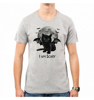 T-Shirt Uomo Scary Cat Halloween Gatto Cute Vt0037A Pacdesign