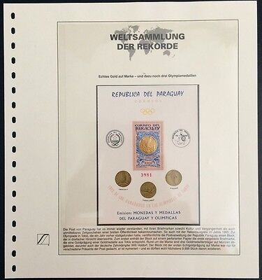 Paraguay 1965 Olympic Games Tokio Block with Gold Medal Goldmedaille Rar MNH