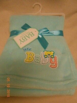 New Baby Swaddle unisex soft baby blanket says: little Baby in stitched letters