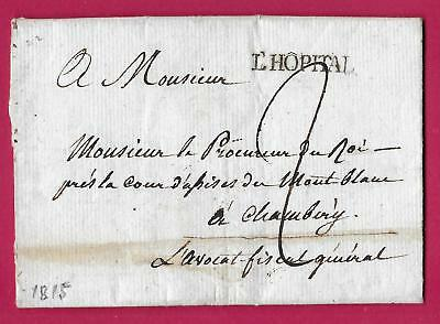Marque Sarde L'hopital Savoie 1845 Chambery Texte Conflans Lettre Cover