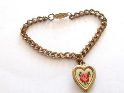 Vintage 1940's Small Bronze Tone Enamel Pink Rose Heart Childs Charm Bracelet