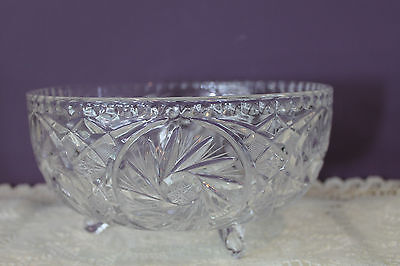 Vintage Pinwheel Crystal Glass Footed Centerpiece Salad Bowl