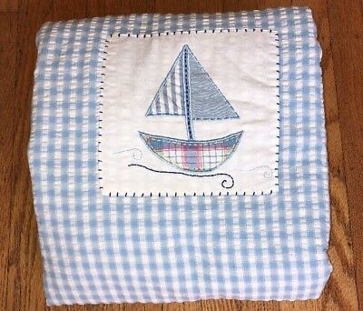 Pottery Barn Kids Baby Quilt Crib Boys Blue Gingham Sailboat Embroidered