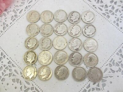 25 silver ROSSEVELT DIMES LOT MIXED DATES