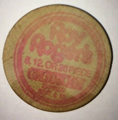 Vintage Wooden Nickel Coca Cola logo for 25 cents at Roy Rogers Chicken coke