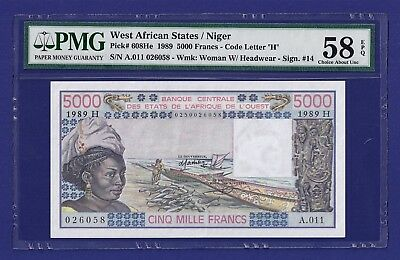 """Rare Uncirculated 5000 Francs 1989 Banknote West African States. Pmg Graded !!!"""""""
