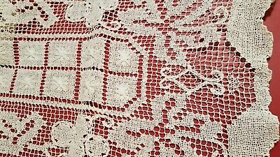 "Antique handmade Italian knot work embroidered runner scarf doily 13"" x 54"" vtg"