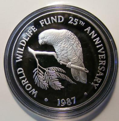 1987 Cayman Islands 5 Dollars World Wildlife Fund Proof Sterling Silver Coin COA