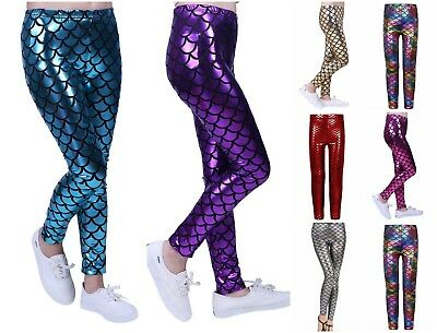 725b9cdc118be8 Kids Girls Mermaid Fish Scale Print Slim Fit Shiny Disco Metallic Leggings  Pants