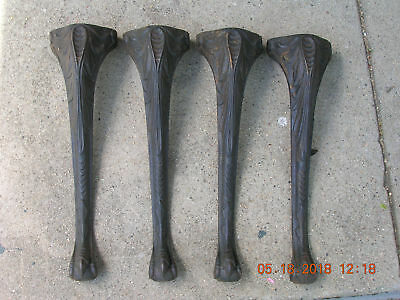 "4 Vintage Ornate Cast Iron 15""Legs~Bench or Coffee Table~Claw Feet"