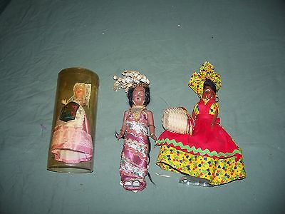 Vintage MIxed Lot of 3 Dolls International Bruxelles, Indonesia, New Orleans Las