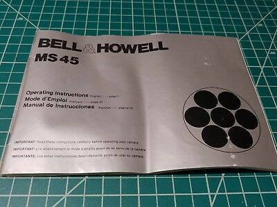 Original BELL & HOWELL SUPER 8  MS 45 Movie Camera Owners Manual.